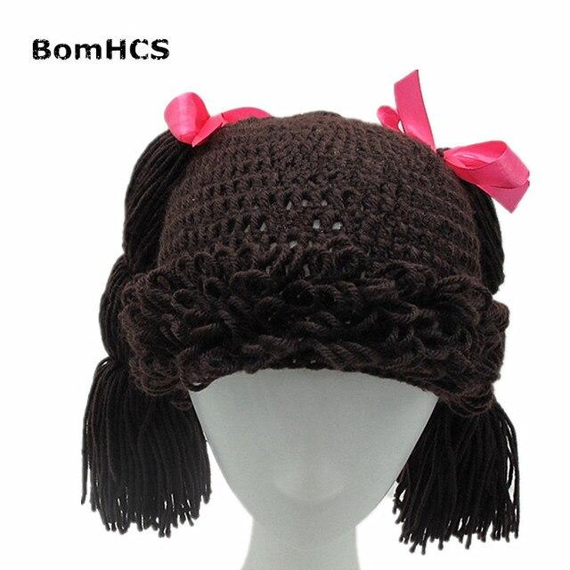 01299b155304f BomHCS Cute Pigtail Wig Beanie Women s Girl s Braid Hat 100% Handmade  Knitted Winter Gift
