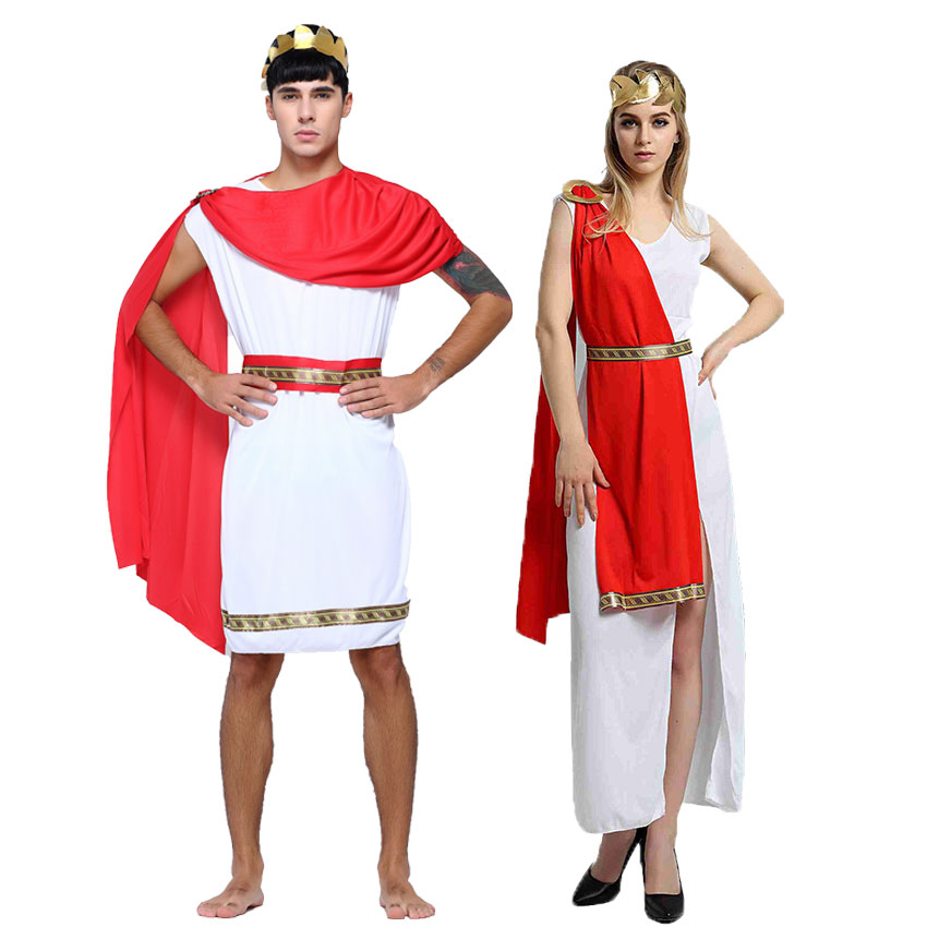 Umorden Carnival Party Halloween Costumes For Couple Greek Goddess Costume Roman Lady Cosplay For Women Roman Officials For Men