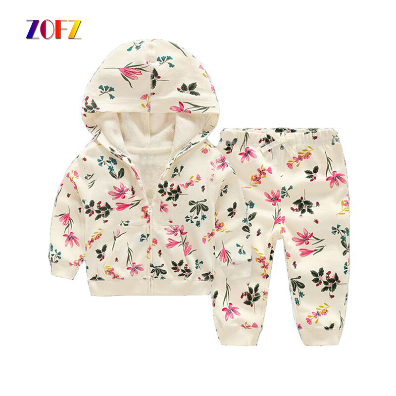 ZOFZ 2017 baby girl clothes 2pieces set 100% cotton sweatshirts white baby hoodies Spring outwear for 0-2 babies fashion clothes