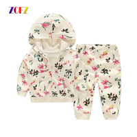 ZOFZ 2017 Baby Girl Clothes 2pieces Set 100 Cotton Sweatshirts White Baby Hoodies Spring Outwear For