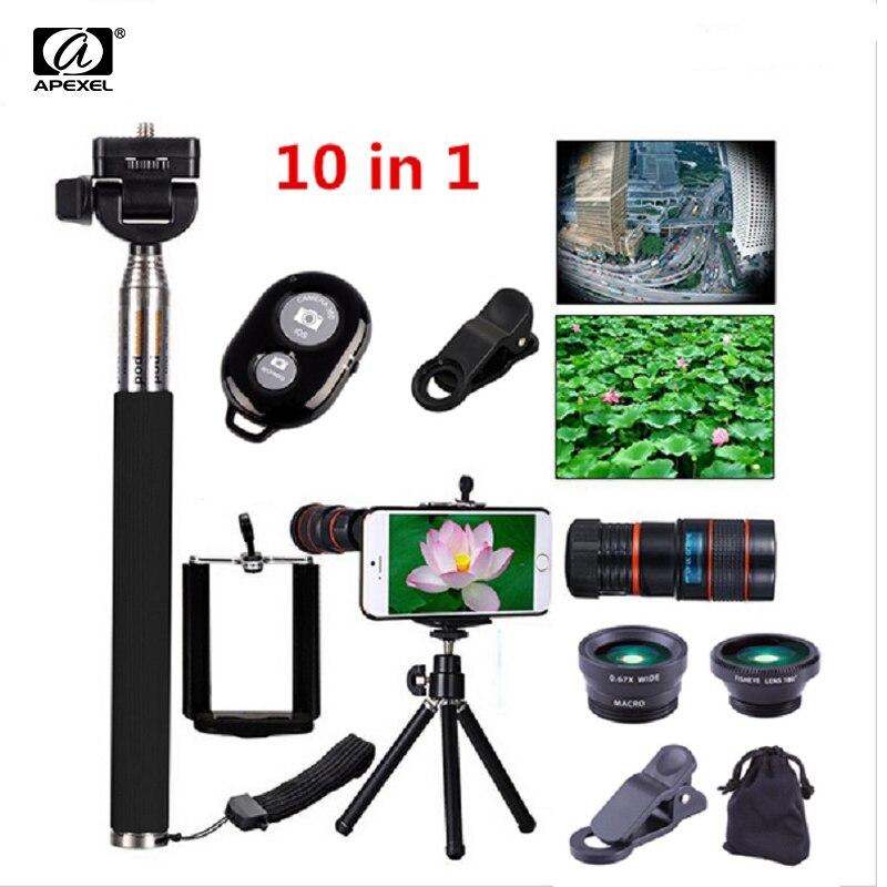 imágenes para 10in1 universal telescopio del zumbido 8x + selfie stick monopod + 3in1 clip lente ojo de pez gran angular macro móvil + trípode flexible 19b10in1
