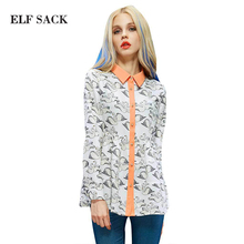 ELF SACK fashion brand new arrival 2015 spring print casual big bottom shirt blouses turn-down collar buttons free shipping