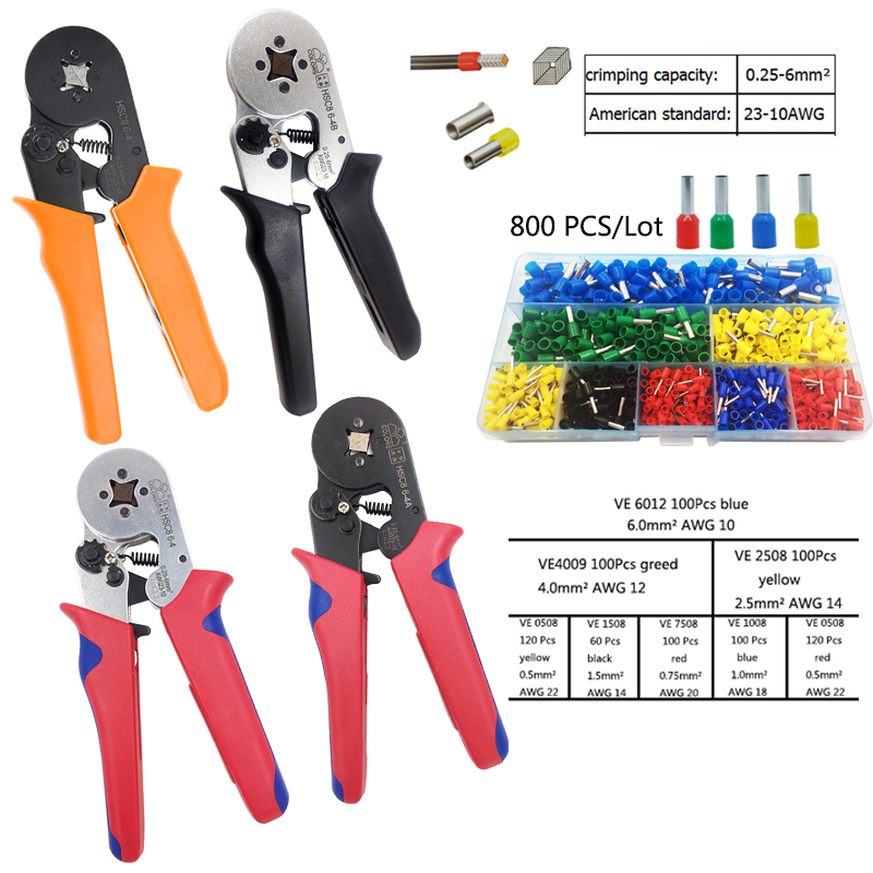 Hsc8 6-4A Crimp Tool Wire Cutter Electrician Crimping Pliers Hand Tools Suitable For Tube Terminal Connector 0.25-6mm2 AWG23-10