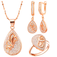 FS037 Top Quality Rose Gold Crystal Necklace Ring Earrings Statement Jewelry Sets Wedding Accessories Bridal Gift