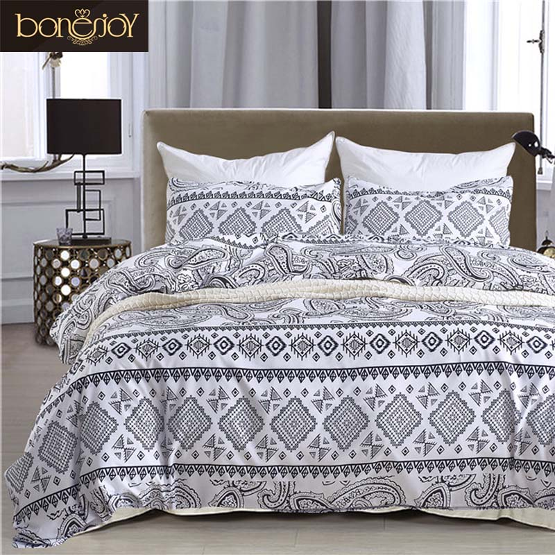 Bonenjoy Black and White Bedding Twin Size Bohemian Style Queen Duvet Cover Boho Bed Cover Linen Set Plaid Geometric Bedding Kit queen size bedding set