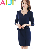AIJI Autumn Winter Fashion Puff Sleeve Dress Women S Slim V Neck Formal Long Sleeve Dresses