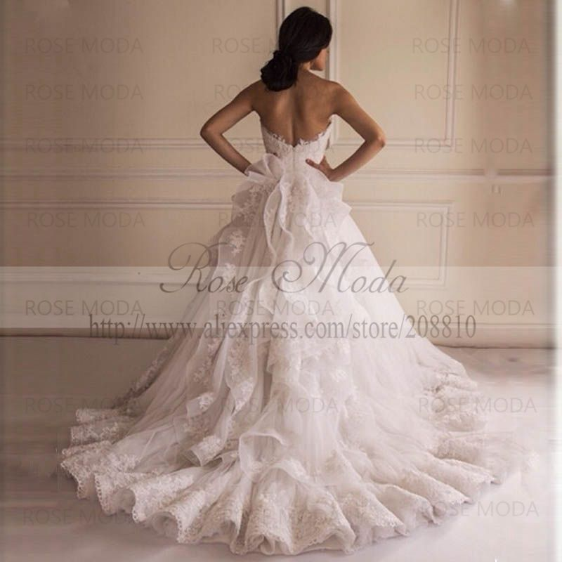 Strapless Lace Ball Gown With Wide Hem V Shaped Back Appliqued Tulle Wedding Dress Ruffled Skirt In Dresses From Weddings Events On