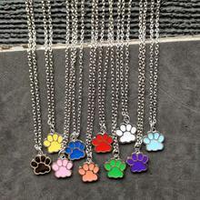 Mix Design Enamel Pet Dog Cat Foot Paw Print Necklace For Women Clavicle Chain Choker Collier Bijoux Pendant Newest