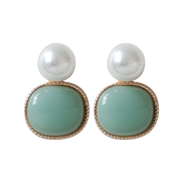 Fashion women earrings glass round small pearl earrings 2018 fine jewelry accessories stud earrings for women