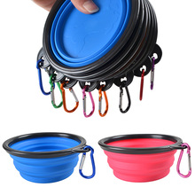 Fashion Pet Dog Feeders Bowl Black Box Folding Silicone Portable Tableware with Mountaineering Buckle
