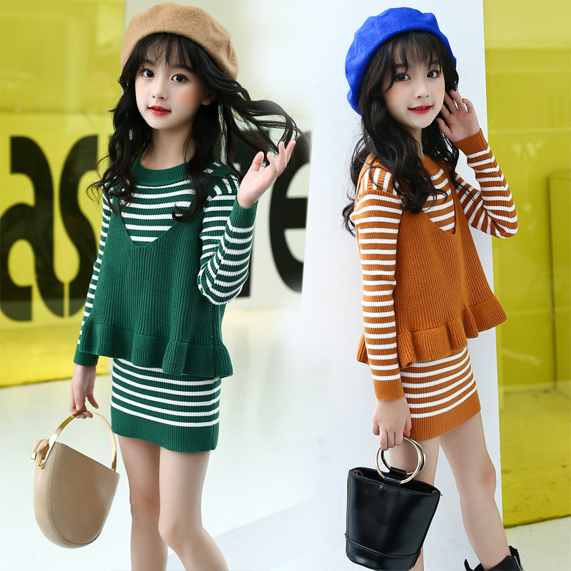 The 2017 Fall Long Striped Sweater Two Pcs Suit Girls Sweater Dress with Ruffle Vest Age 5 6 8 10 11 13