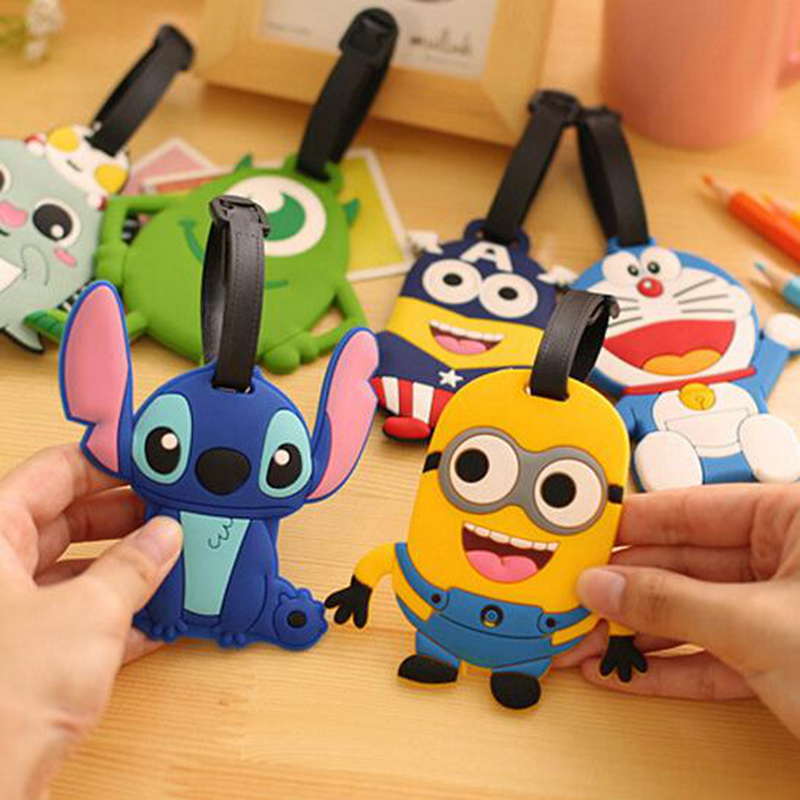 Travel Accessories Luggage Tag Suitcase Cartoon Style Cute Stitch Superman Cat Fashion Silicon Portable Travel Label