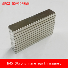 5PCS 50*10*3mm N45 strip Strong magnetic force NdFeB rare earth magnet permanent 50X10X3MM