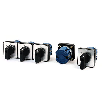 5Pcs 660V 20A 2-Pole 3-Position Square Panel Rotary Cam Changeover Switch