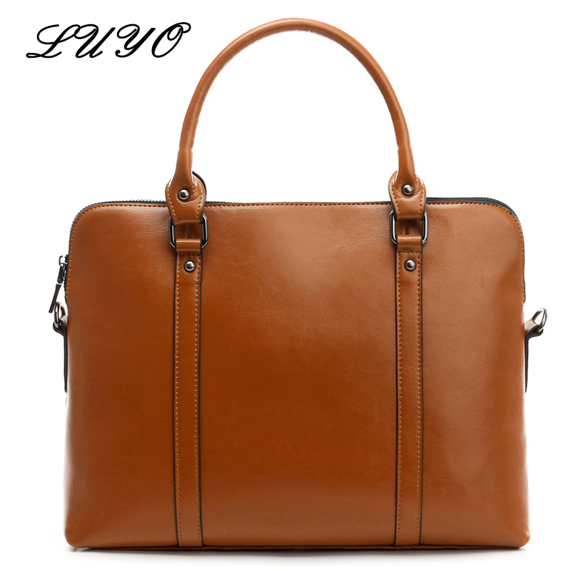 LUYO Brand Genuine Leather Business Luxury Handbags Women Bags Designer Top-handle Ladies Handbag Fashion Laptop Briefcase Bag