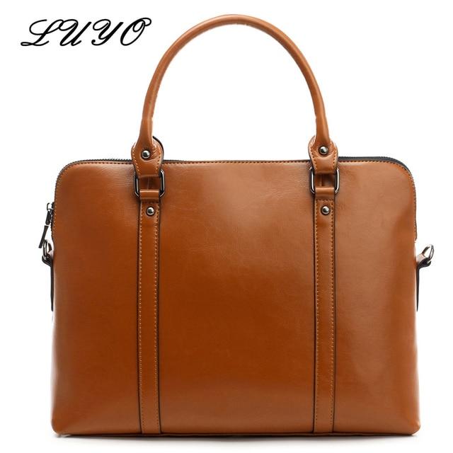 LUYO Brand Genuine Leather Business Luxury Handbags Women Bags Designer  Top-handle Ladies Handbag Fashion Laptop Briefcase Bag e3396fc7bc5f6