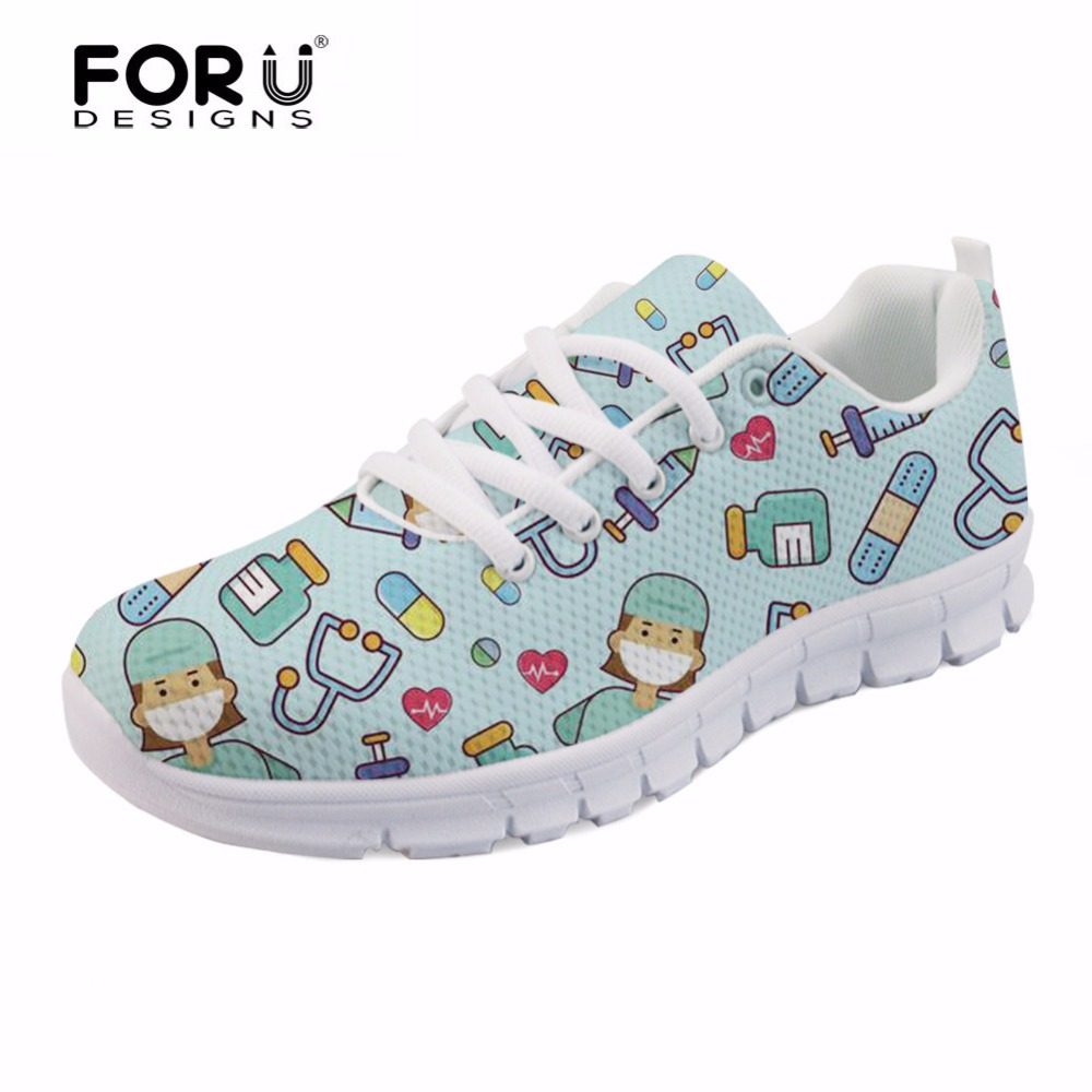 FORUDESIGNS Spring Nurse Flat Shoes Women Cute Cartoon Nurses Printed Women's Sneakers Shoes Breathable Mesh Flats Female Shoes