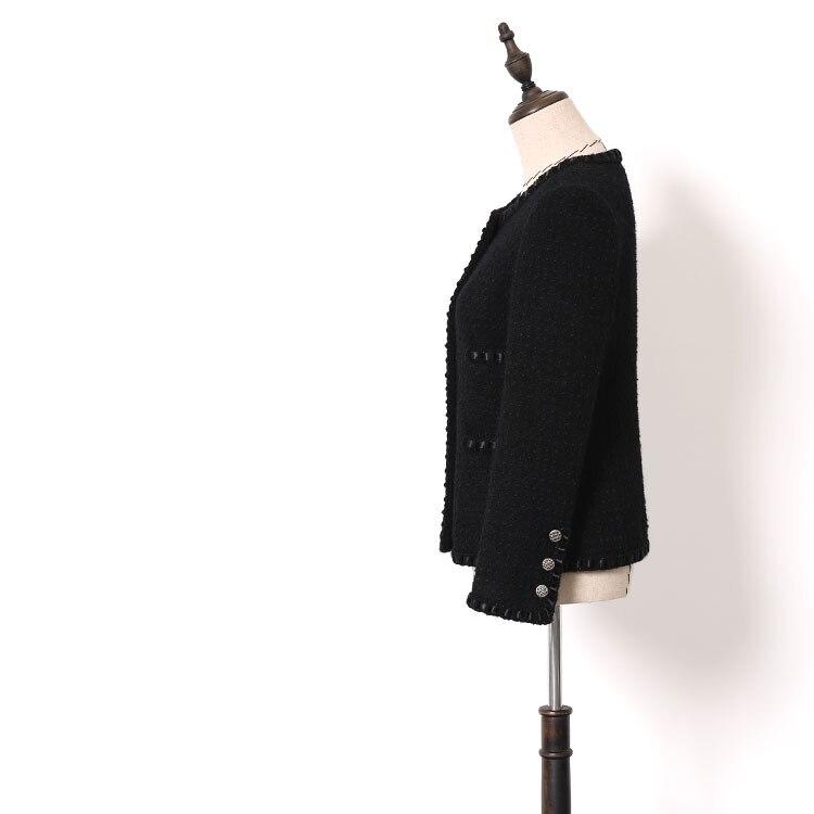 ใหม่ WT0001 ลมมีกลิ่นหอมเล็กๆฤดูใบไม้ร่วงฤดูหนาวผู้หญิงสวมใส่สีดำขนสัตว์ heavy duty tweed สั้นความหนา-ใน แจ็กเก็ตแบบเบสิก จาก เสื้อผ้าสตรี บน   2