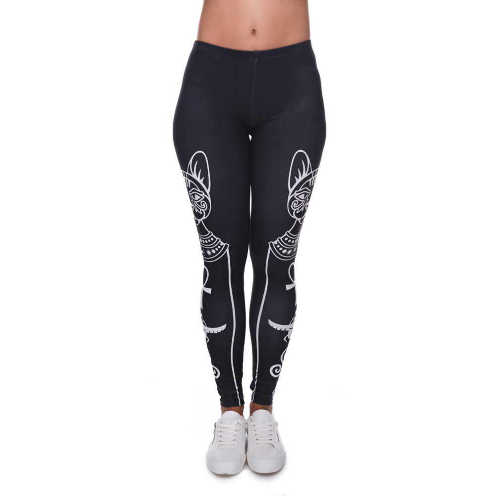 High Elasticity Egyptian cat symbols Printed Fashion Slim fit   Legging   Workout Trousers Casual Pants   Leggings   for Women