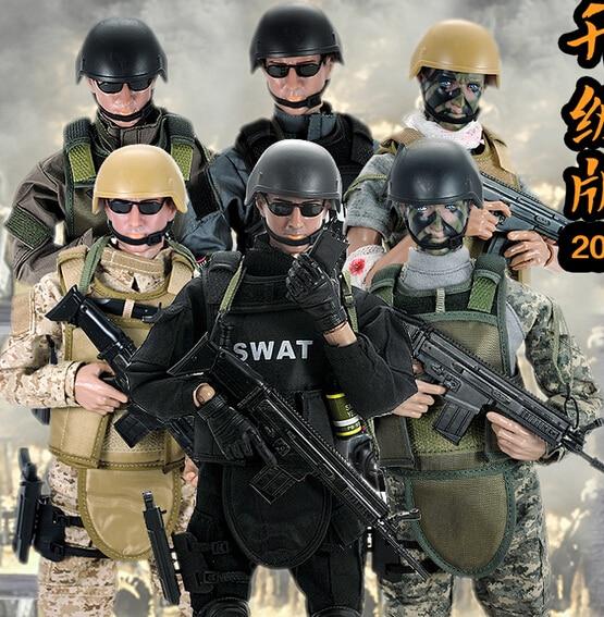 Hot! New 1 pcs 12  1/6 SWAT noir uniforme militaire armée de Combat jeu Soldier jouet Set avec Retail Box Action Figure modèle jouets