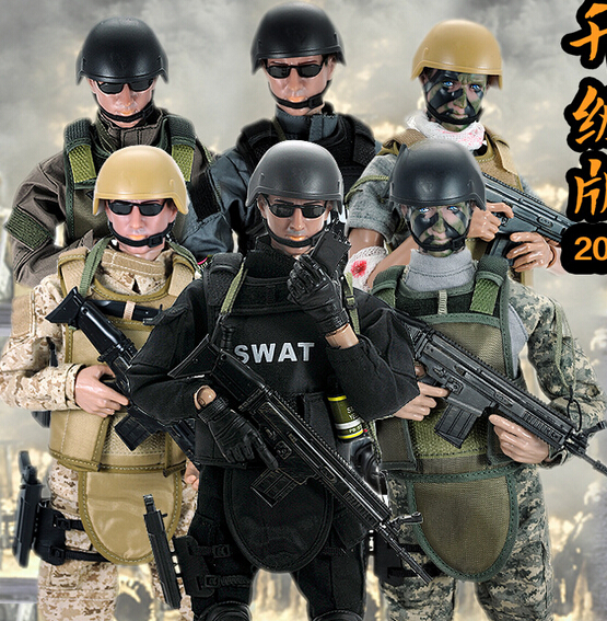 hot ! NEW 1pcs 12 1/6 SWAT Black Uniform Military Army Combat Game Toys Soldier Set with Retail Box Action Figure Model toys