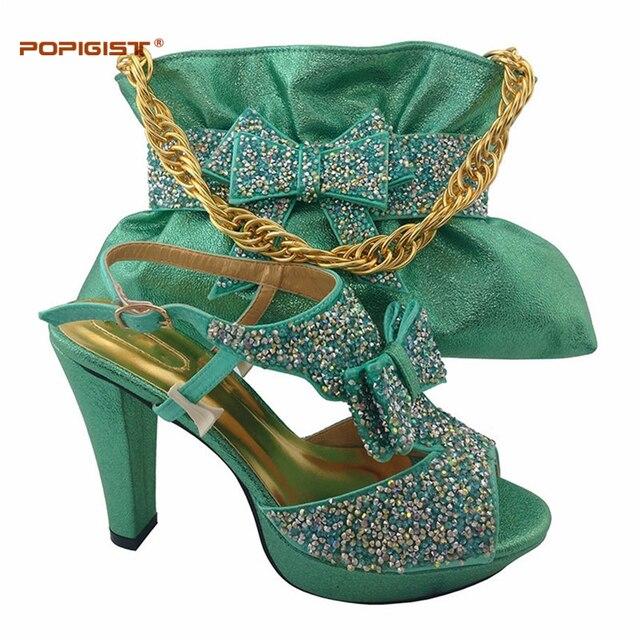 Mint Grüne schuhe mit Glückliche intelligente handtasche Hochzeit Schuhe  und Tasche Sets Frauen Pumpen mit Diamanten d311b29937