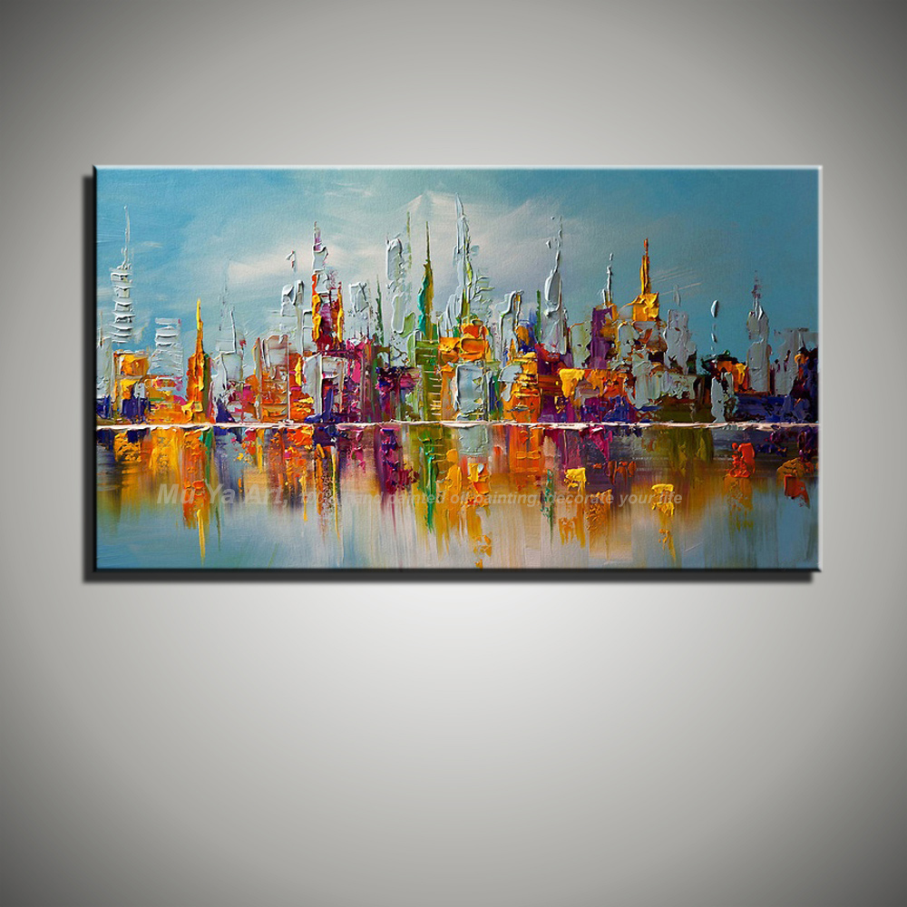 Large beautilful landscape Abstract modern wall city painting font b Knife b font oil painting reproduction