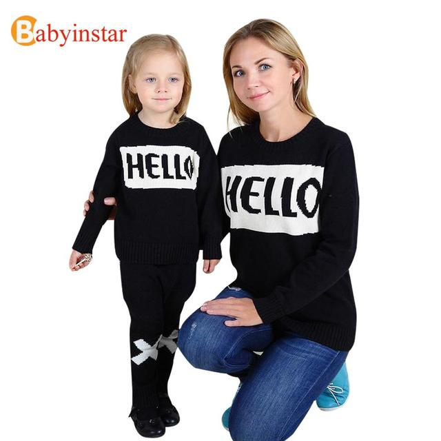 """""""Hello"""" Style 2016 New Family Matching Outfits Autumn Winter Casual Sweater For Mother Daughter Son Family Clothe Family Set"""