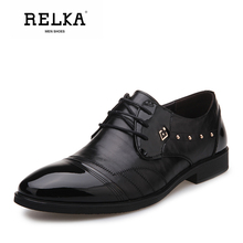 Купить с кэшбэком RELKA Handmade Luxury Men Shoes High Quality Cow Leather Retro Round Toe Soft Square Heel Shoes Vintage Casual Soft Men Shoe N14
