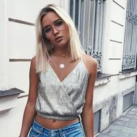 2017 Summer Europe And The United States Tank Tops Sexy Deep V Cross Strapless Crop Top