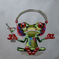 Hand Painted Abstract Cartoon Animal Oil Painting on Canvas Happy Music Frog Canvas Painting Wall Art Picture Painting for Room
