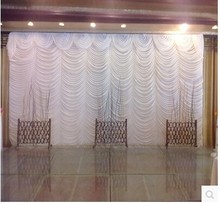 2017 Top-sale white 20ft*10ft water falls wedding backdrops ,wedding stage drapes white color event decoration