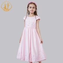 Nimble Princess Dress Vestidos Appliques Sequined Waist Pleat Bow Solid Flowers Girls Dress