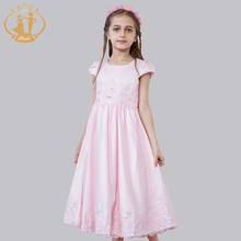 Nimble Princess Dress Vestidos Appliques Sequined Waist Pleat Bow Solid Flowers Girls Dress Ball Gown Ankle-Length dress for gir