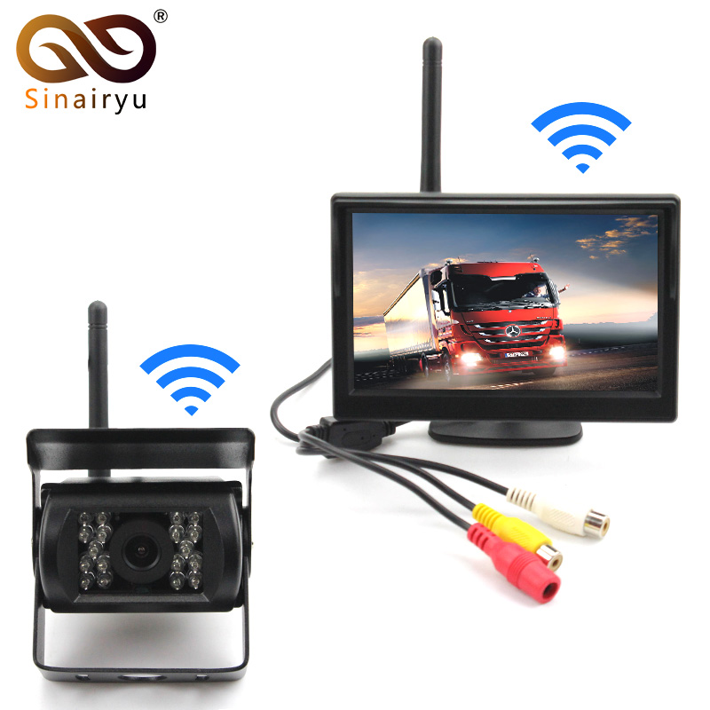 Sinairyu Wireless Backup Camera IR Night Vision Waterproof with 5 Rear View Monitor for RV Truck Bus Parking Assistance System podofo wireless truck vehicle car rear view backup camera 7 hd monitor ir night vision parking assistance waterproof for rv rc