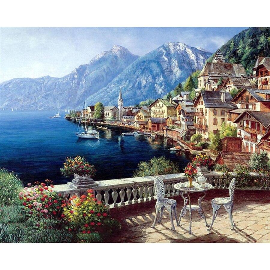 Bezrámové Seascape Oil Paints by Numbers DIY Digital Pictures Coloring Number on Canvas Unikátní dárky Domácí dekorace 40x50