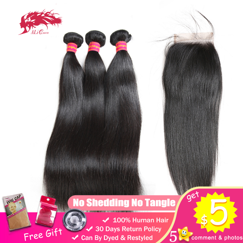 Ali Queen Brazilian Straight Unprocessed Virgin Human Hair 3 Bundles With 4x4 Lace Closure Free Middle Three Part Natural Color