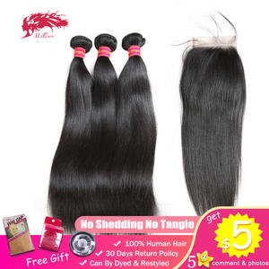 Human-Hair Lace-Closure Ali-Queen Natural-Color Straight Unprocessed Virgin Brazilian