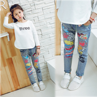 Children S Clothing Child Spring And Autumn Female Child Jeans Trousers Child Elastic Tight Pencil Repair