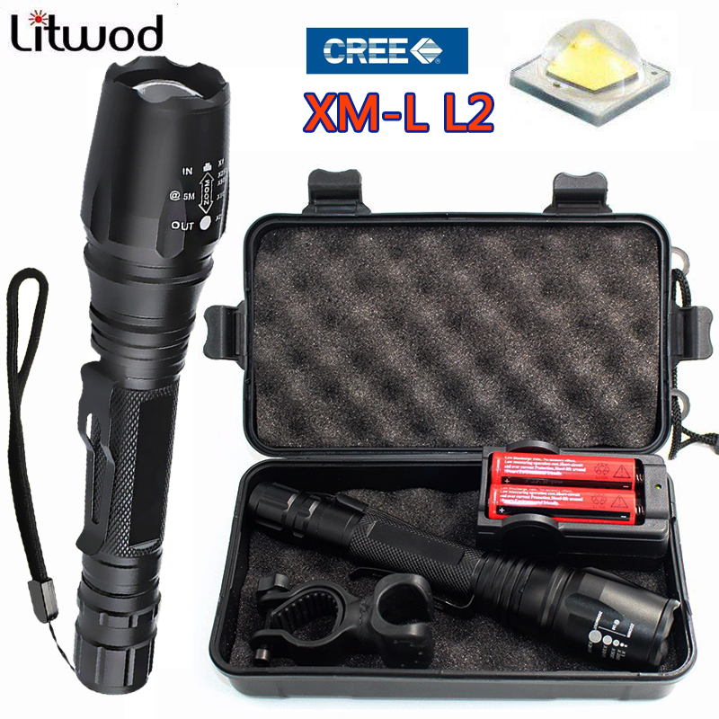 Z15 5000 lumen XM-L L2 zoomable LED tactical Flashlight Torch For 18650 batteries aluminum self defense linterna lights