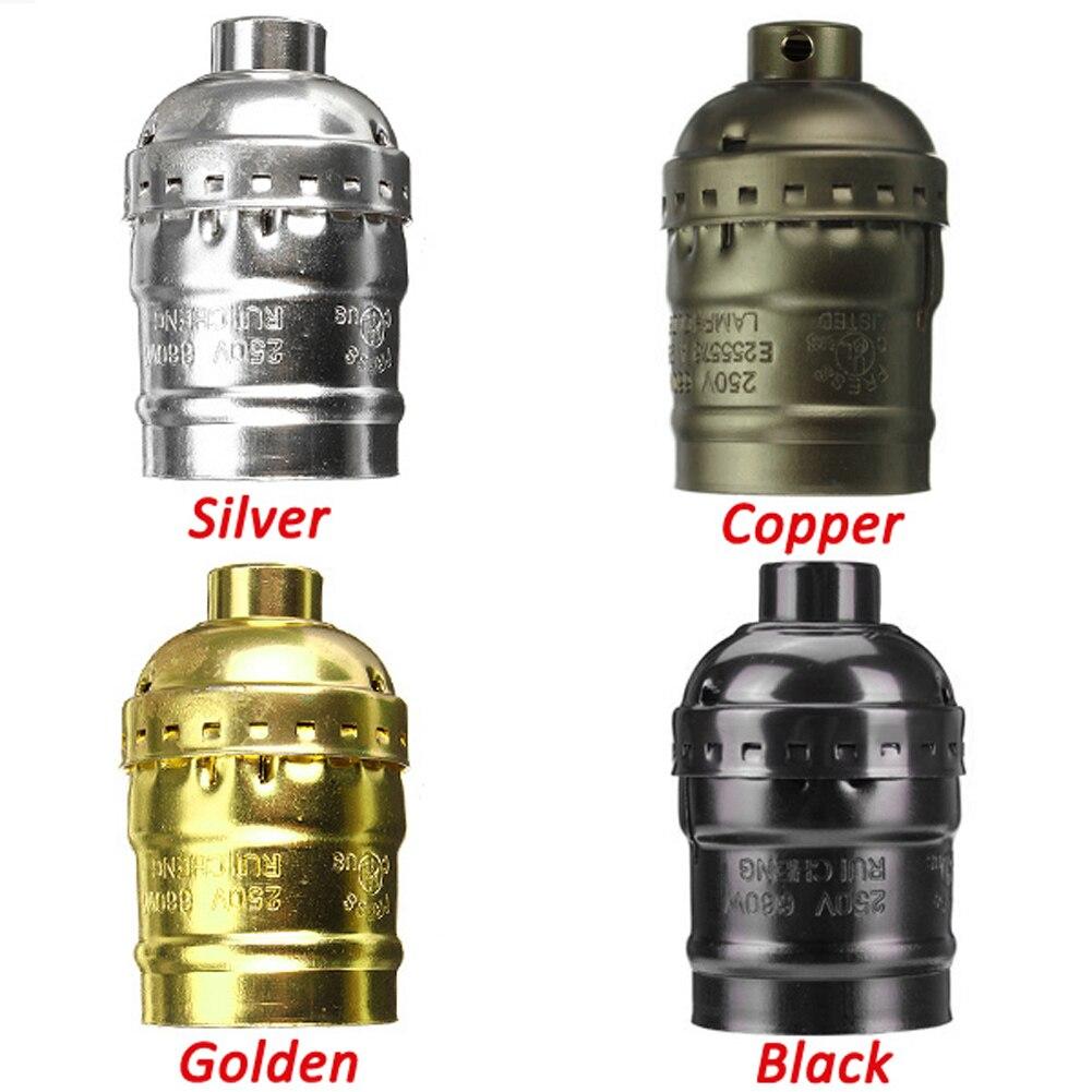 TSLEEN Best Price! E27 Aluminum Retro Antique Vintage LED Light Lamp Bulb Holder Socket Fitting Shade Lamp Bases Silver Bronze