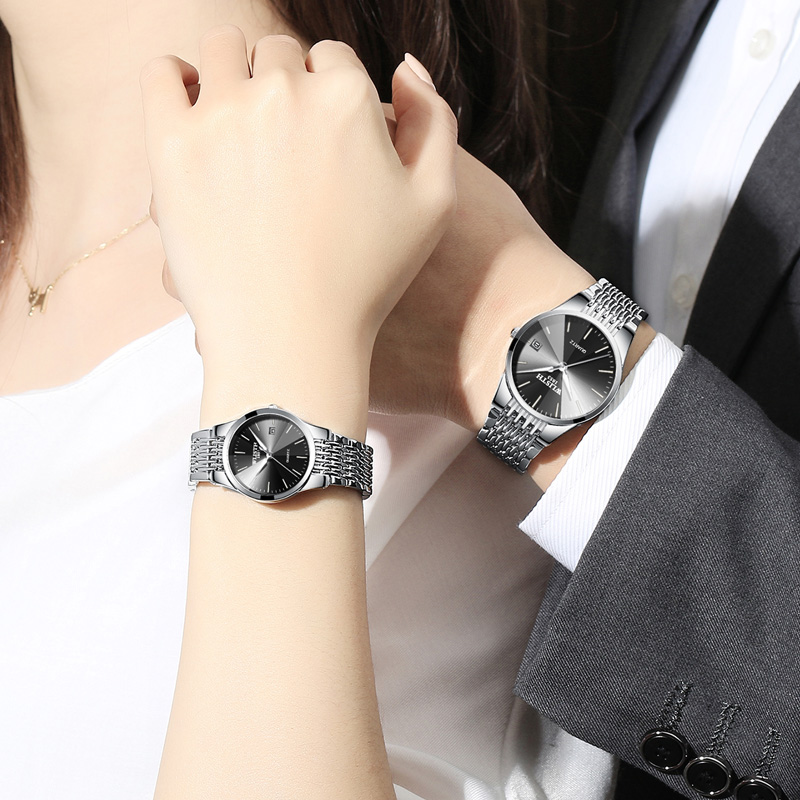 Couple Watch Waterproof Lover Clock Business Women's Ultra-Thin Fashion Black Simple