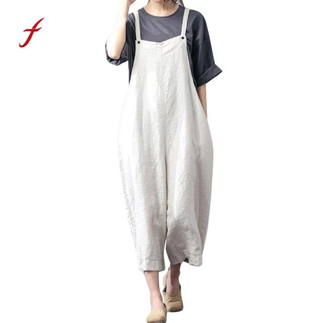 52a471ac8c4 feitong jumpsuits for women Summer 2018 Fashion Cotton Cargo Pants Bib  Overalls Dungaree Wide Leg Trousers Jumpsuit Rompers