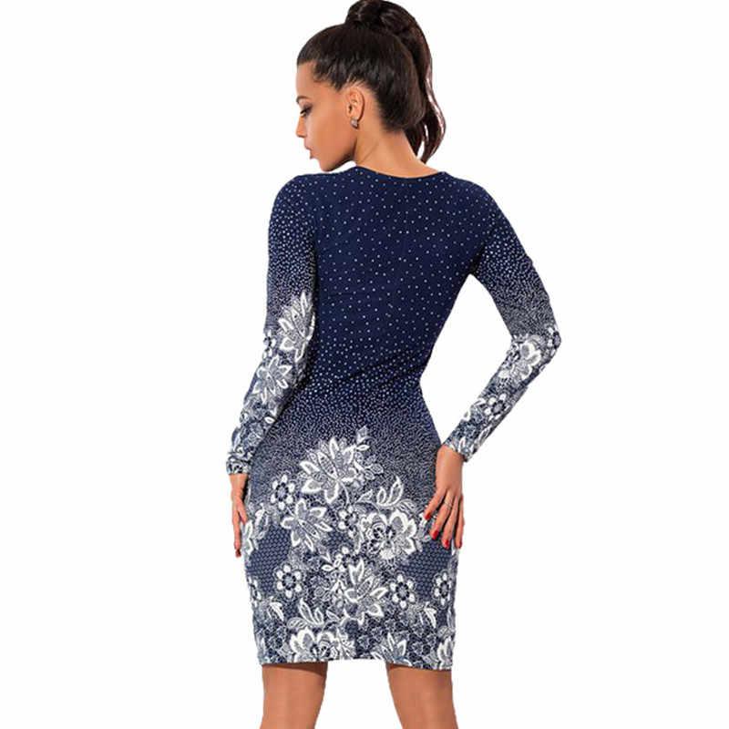Плюс Размер 2016 женское повседневное винтажное платье с круглым вырезом с длинным рукавом в горошек с цветочным принтом Тонкое сексуальное Обтягивающее Платье-Карандаш Платья для вечеринок