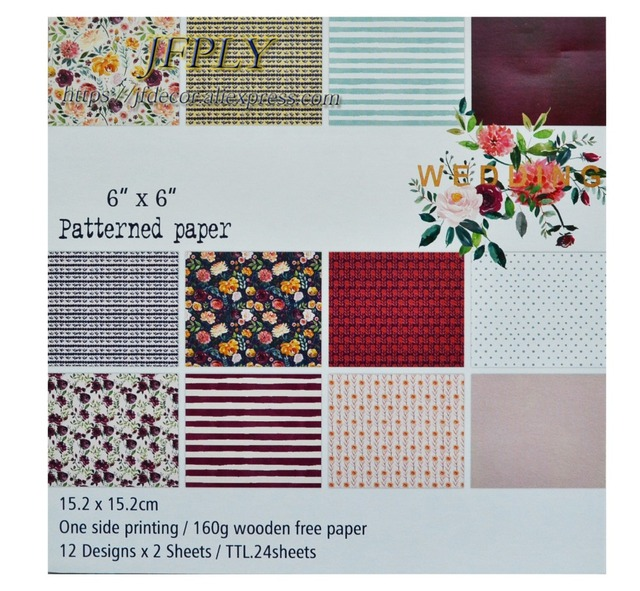 """DIY Photo Album Flower series   Decorative  Scrapbooking Papers craft Background pad Paper Origami 6""""x6"""" 24Sheets/Set"""