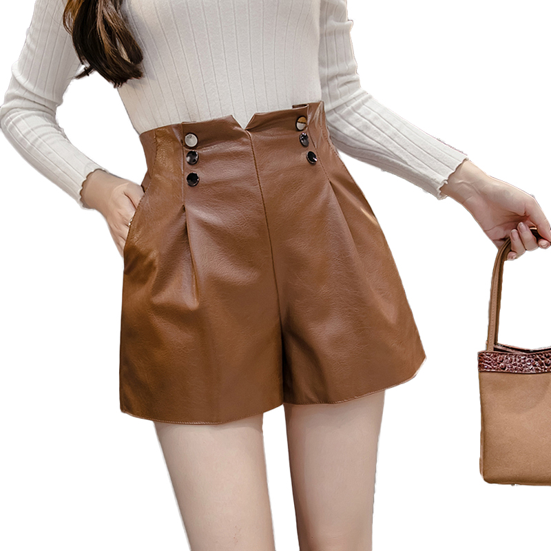 2019 Autumn Winter Korean PU Faux Leather Shorts Women High Waist Button Wide Leg Short Ladies Plus Size Sexy Short Femme