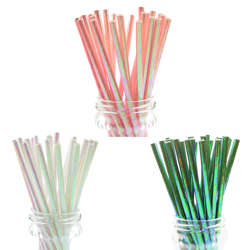 25pcs/lot Pearl Rainbow Iridescent Paper Straws Kids Birthday Party Wedding Decoration Bridal Shower  Drinking Paper Straws DIY