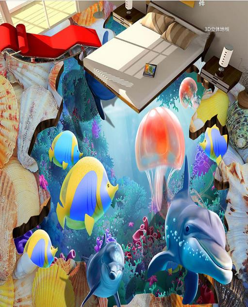 Designer Vinyl Flooring 3d Wall Murals Wallpaper Sea Fish Coral Jellyfish Dolphins 3d Floor Room Murals Selfadhesive Paper 3d flooring underwater murals hd coral 3d floor wallpaper for bedroom walls vinyl floor wallpaper 3d for children room