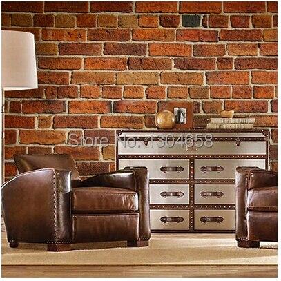 Free Shipping Custom Retro Brick Wall Mural Wallpaper Lounge Bar KTV Living Room Restaurant Coffee Shop