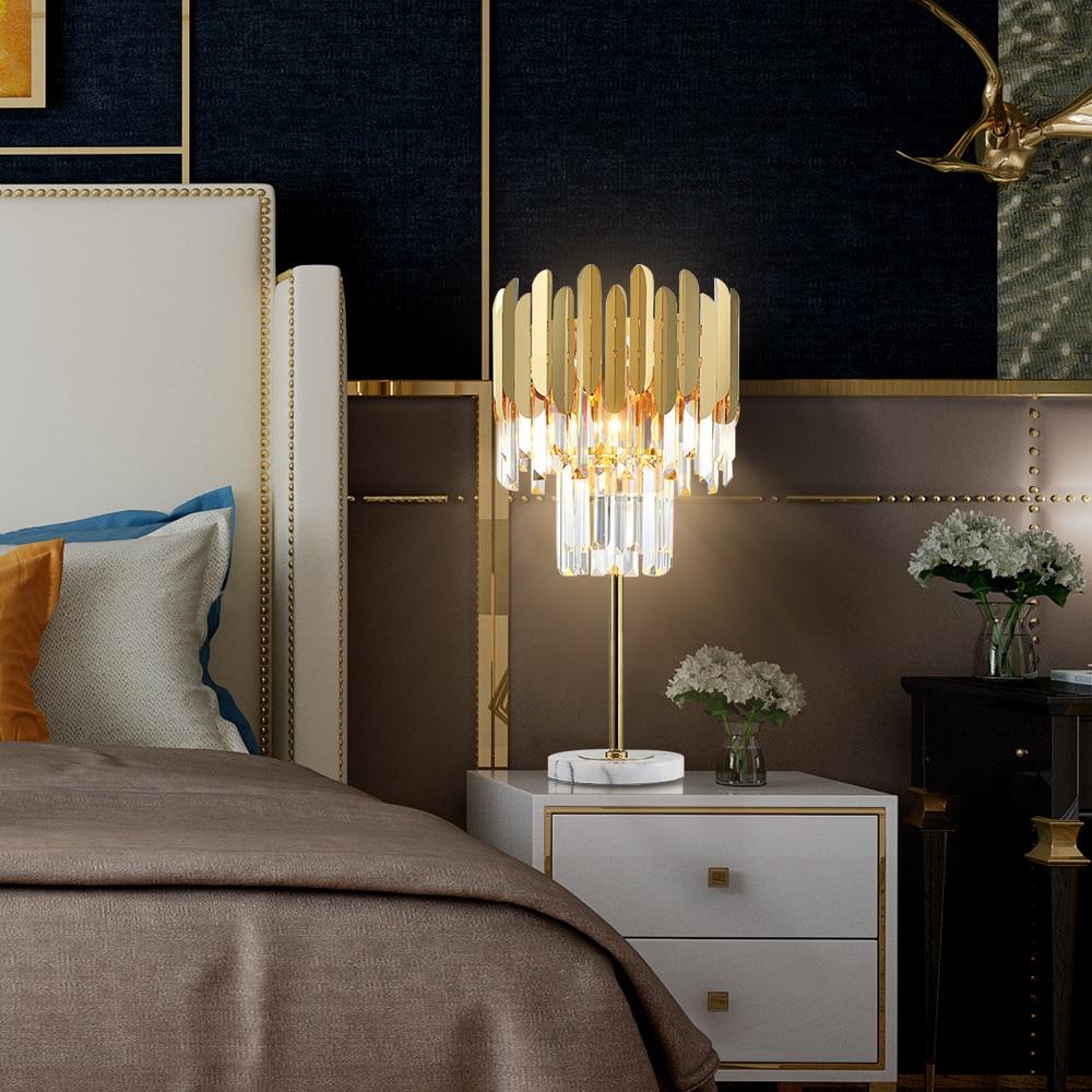 AULEEZE Modern Luxury LED Table Lamp Gold Polished Steel Crystal Desk Decor Light  1